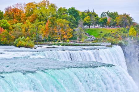 niagara falls: Panorama of Niagara Falls in autumn Stock Photo