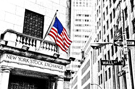 ウォールストリートの道路標識とニューヨークのニューヨーク証券取引所のイラスト。 報道画像