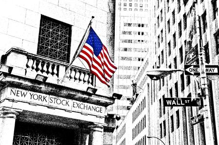 월스트리트 도로 표지판 및 뉴욕에서 뉴욕 증권 거래소의 그림. 에디토리얼