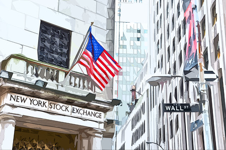 new york stock exchange: A street sign of Wall Street and New York Stock Exchange