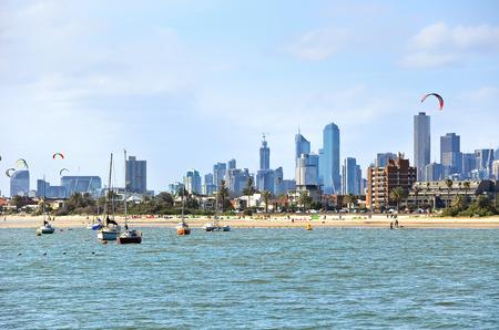 st kilda: Kite surfing on St Kilda Beach in Melbourne, Australia