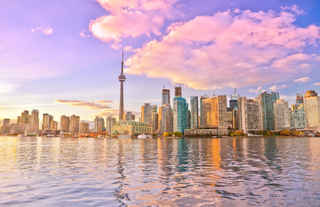 Toronto skyline at dusk in Ontario, Canada.