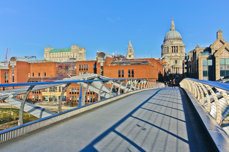 millennium bridge: View of St Pauls Cathedral from the Millennium Bridge in London
