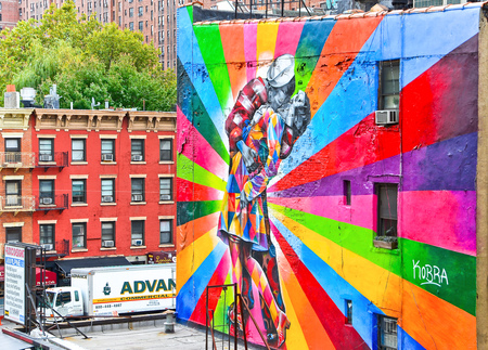 vandal: New York, USA - October 9, 2013: View of colorful graffiti artwork in New York City on October 9, 2013.