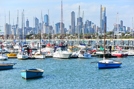 st kilda: Melbourne, Australia - January 18, 2015: View of St Kilda Marina with lots of boats in Melbourne on January 18, 2015.
