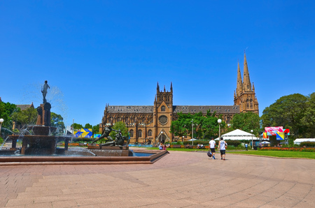 marys: View of the St Marys Cathedral and Hyde Park in Sydney Editorial