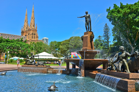 hyde: View of the St Marys Cathedral and Hyde Park in Sydney Editorial