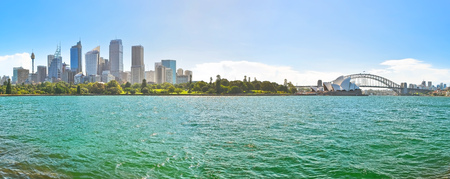 Panorama of Sydney Harbor in a sunny day
