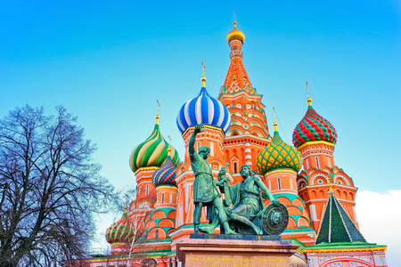 red square: St. Basils cathedral on the Red Square in Moscow Stock Photo
