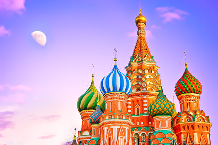 St. Basil's cathedral on the Red Square in Moscow at dusk. Banco de Imagens - 56482124
