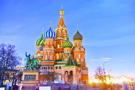 St. Basil's cathedral on the Red Square in Moscow at night