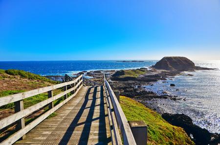 필립 아일랜드, 빅토리아, 호주에서 비즈 센터에서 해안선의보기.