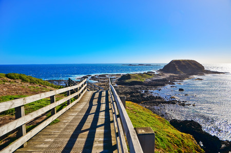 View of the coastline at Nobbies Centre in Phillip Island, Victoria, Australia. Stock fotó