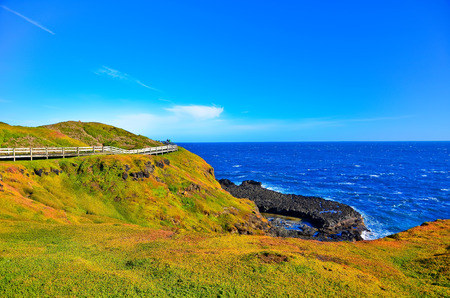 footpath: View of the coastline at Nobbies Centre in Phillip Island, Victoria, Australia. Stock Photo