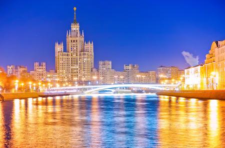 kotelnicheskaya embankment: Kotelnicheskaya Embankment Building along the Moscow River at night