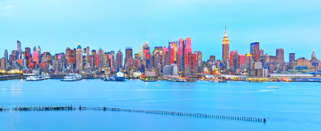 View of the Manhattan skyline at dusk