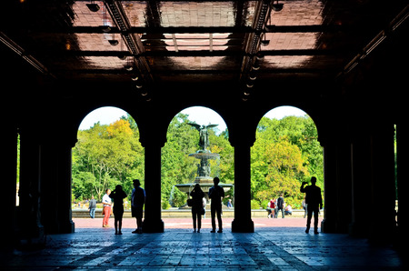 bethesda: New York, USA - October 8, 2013: View of the Bethesda Terrace in the Central Park, New York City on October 8, 2013. Editorial