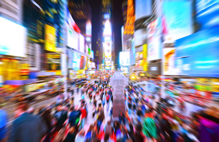 Times Square in New York City with motion effect