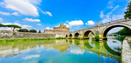 View of the Castel SantAngelo and Aelian Bridge across Tiber River in Rome Stock Photo