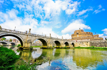 castel: View of the Castel SantAngelo and Aelian Bridge across Tiber River in Rome Stock Photo