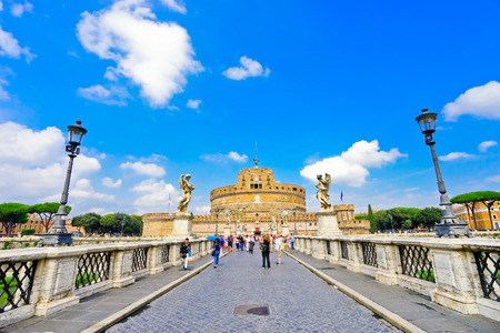 Castel Sant'Angelo and statues of angel figure on the Aelian Bridge in Rome Stock Photo - 73944025