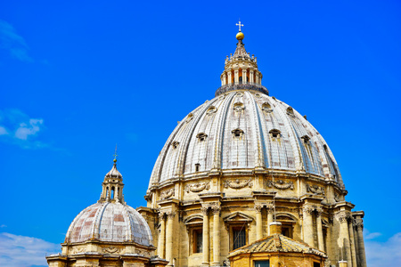 View of the St. Peters Basilica in a sunny day in Vatican Stock Photo