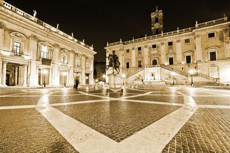 View of the Piazza del Campidoglio at night in Rome, Italy.