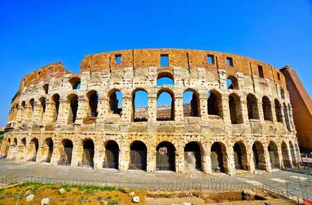 View of Colosseum in a sunny day in Rome, Italy