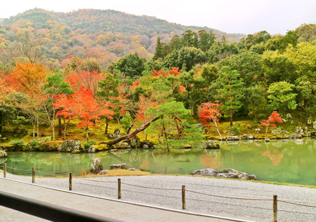 Colorful view of the Tenryu-ji Temple in autumn in Kyoto