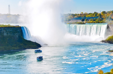 View of Niagara Falls in a sunny day in autumn