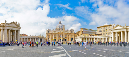 View of the St. Peters Basilica in a sunny day in Vatican. Editorial