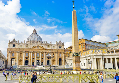 Vatican City, Vatican - September 15, 2016: View of the St. Peters Basilica in a sunny day in Vatican on September 15, 2016. Editorial