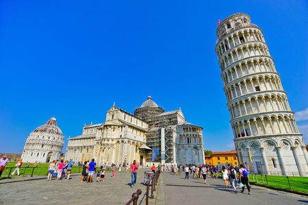 Pisa, Italy - September 10, 2016: View of the Pisa Cathedral and the Leaning Tower in a sunny day in Pisa on September 10, 2016. Editorial