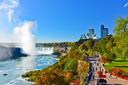 View of Niagara Falls in a sunny day in autumn in Canada Stock Photo