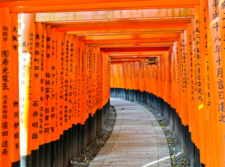 The torii path in the shrine in Kyoto Stock fotó
