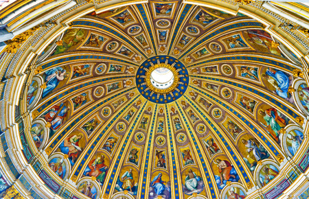 Interior view of the St. Peters Basilica in a sunny day in Vatican, Italy.