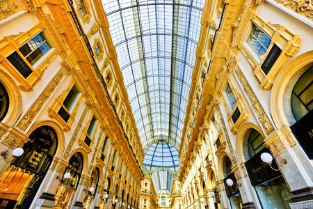 Milan, Italy - September 7, 2016: View of the Galleria Vittorio Emanuele II in Milan on September 7, 2016. The arcade is one of the worlds oldest shopping malls. Editorial