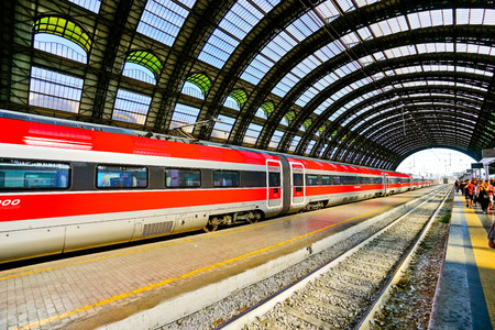 Milan, Italy - September 7, 2016: View of the High-speed train at Milano Centrale railway station in Milan on September 7, 2016. Editorial