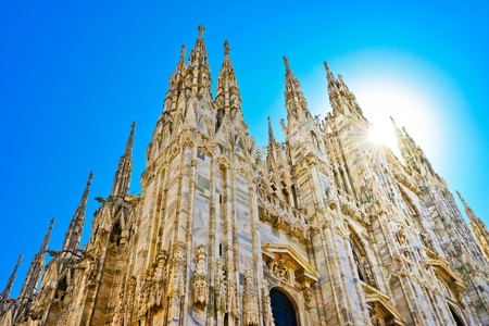 View of the Milan Cathedral in a sunny day in Milan. Stock Photo
