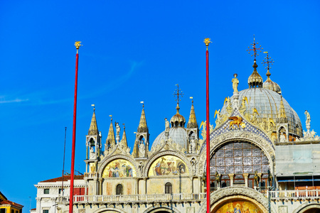 st  marks square: View of Saint Marks Basilica on the St Marks Square in a sunny day in Venice.