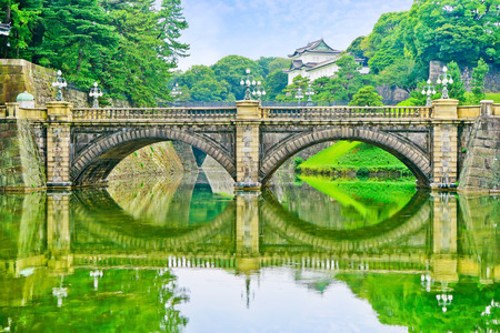 royals: Tokyo, Japan - July 17, 2016: View of the Tokyo Imperial Palace in a sunny day in Tokyo on July 17, 2016. The Imperial Palace is the primary residence of the Emperor of Japan.