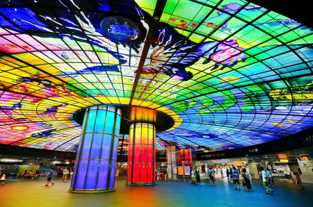 Kaohsiung, Taiwan - August 23, 2015: View of the colorful artwork in a metro station in Kaohsiung, Taiwan on August 23, 2015. 新闻类图片