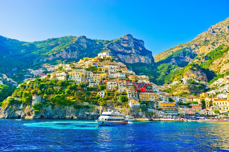 View of Positano village on a sunny day along the Amalfi Coast in Italy.