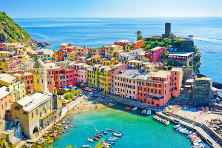View of the beautiful seaside of Vernazza village in summer in the Cinque Terre area, Italy. Stock Photo