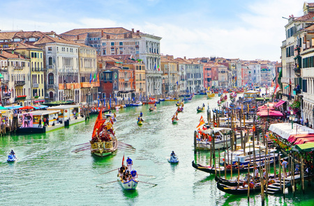 Venice, Italy - September 4, 2016: View of the historical gondola race- Regata Storica with lots of Gondolas rowing on the Grand Canal in Venice on September 4, 2016. Editorial