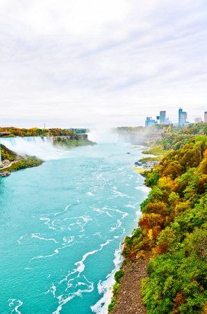 View of Niagara Falls from Canadian side in autumn.