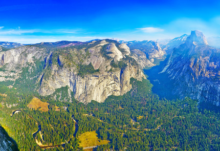 View from the Glacier Point in Yosemite National Park in autumn.