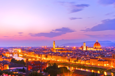 View of the city center in Florence at sunset. Stock Photo