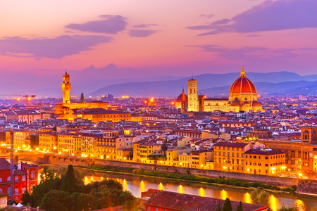 View of the city center in Florence at sunset. Editorial