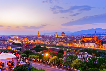 View of the city center in Florence at sunset. Archivio Fotografico